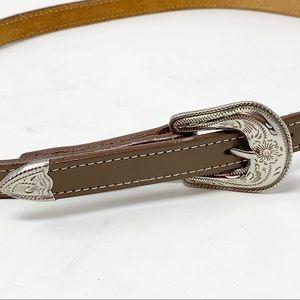 BRUSHY CREEK Leather Belt Tooled Metal Buckle